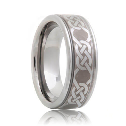 Laser Engraved Celtic Rope Pattern Tungsten Wedding Band (6mm - 8mm)