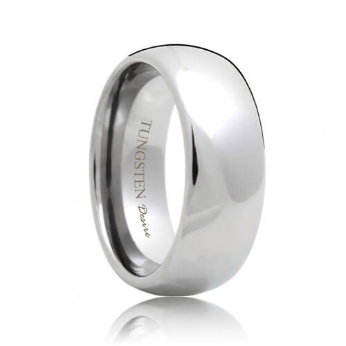 Domed White Tungsten Carbide Ring (4mm - 8mm)