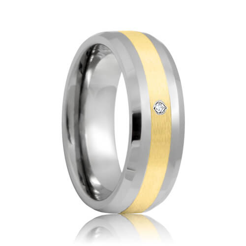 Beveled Diamond Solitaire Tungsten Carbide Wedding Ring with Gold Inlaid