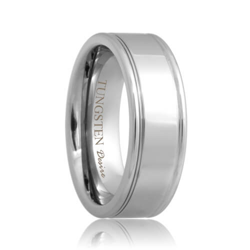 Grooved Polished Shine Tungsten Carbide Ring(6mm - 8mm)