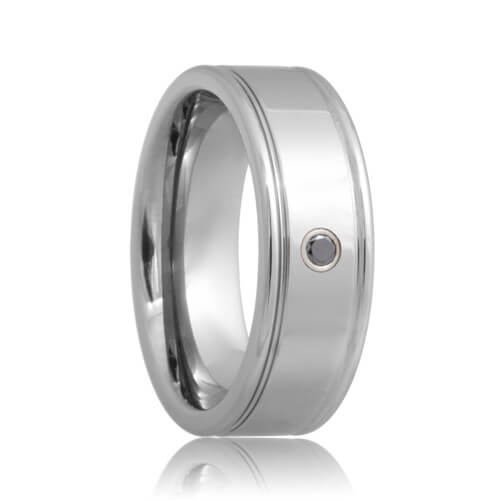 Black Diamond Solitaire Dual Groove Tungsten Ring (6mm - 8mm)