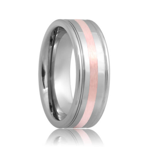 Dual Grooved Rose Gold Inlaid Tungsten Carbide Wedding Ring (6mm - 8mm)