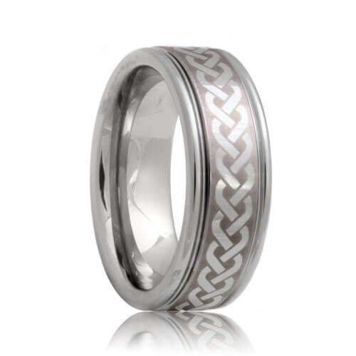 Laser Etched Celtic Knot Pattern Tungsten Wedding Ring 6mm 8mm
