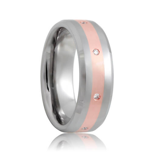 Beveled Diamond Set Rose Gold Inlayed 8mm Tungsten Wedding Band