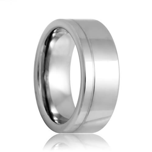 Flat Offset Single Groove Polished Shine Tungsten Band (6mm - 8mm)