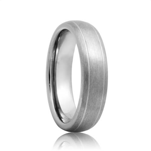 Domed Dual Groove Brushed Tough Tungsten Wedding Band (6mm - 8mm)