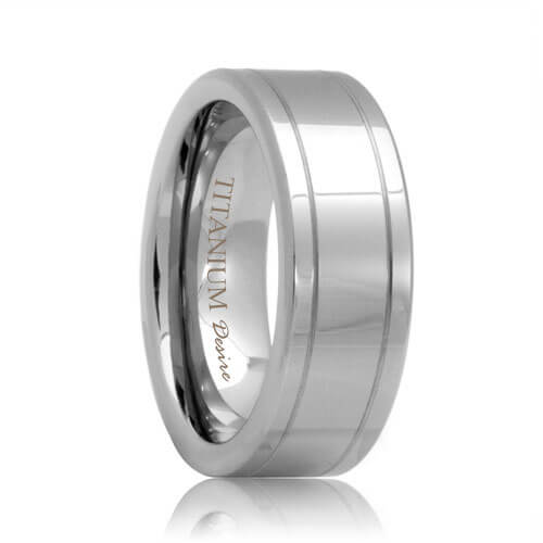 Flat Polished Titanium Ring with Two Grooves