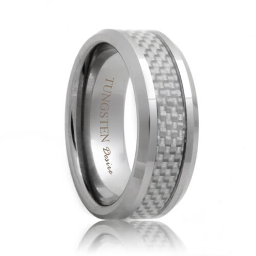 White Carbon Fiber Inlay Hand Woven Tungsten Band
