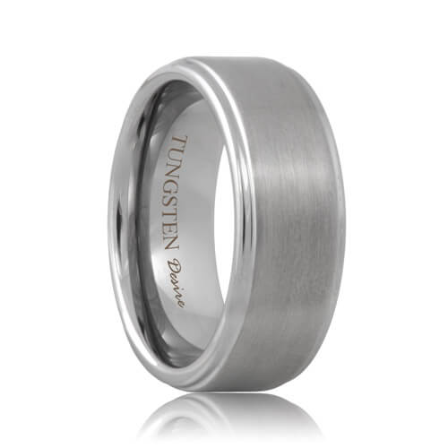 Brushed Step Edge Tough Tungsten Carbide Wedding Ring (6mm - 8mm)