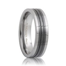 Flat Ceramic Inlaid Two Tone Tungsten Band Grooved