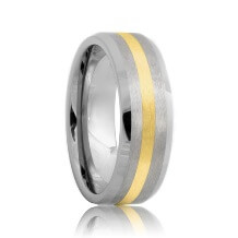 Beveled Satin Cobalt Ring Gold Inlay (6mm - 8mm)