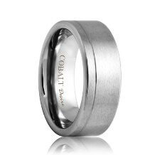 Flat Offset Groove Satin Cobalt Band (6mm - 8mm)