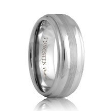 Step Edge Tungsten Ring with Brushed Stripe (6mm - 8mm)