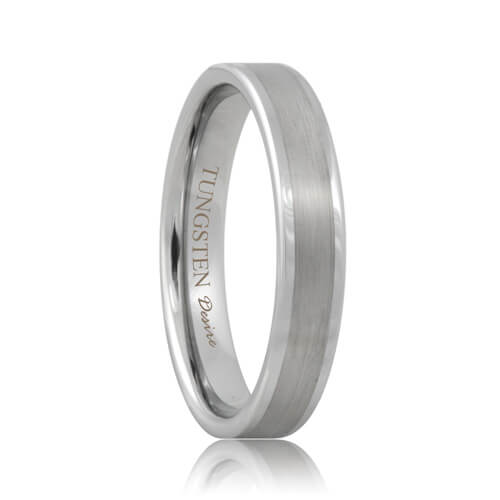 Flat Scratch Resistant Tungsten Wedding Band with Brushed Center