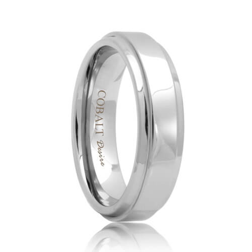 Raised Center Polish Designer Cobalt Chrome Band