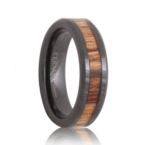 Highly Polished Black Ceramic Zebra Wood Grain Band