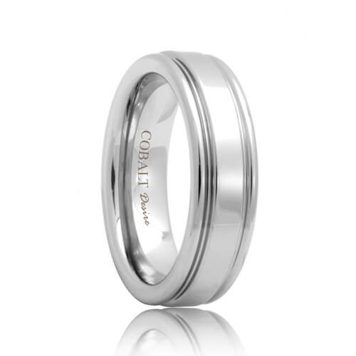 Two Groove Polish Shine Cobalt Chrome Wedding Ring