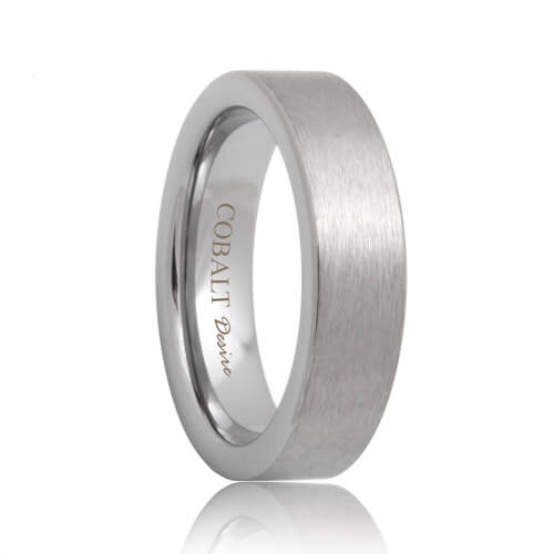 Flat Satin Comfort Fit Cobalt Chrome Wedding Band