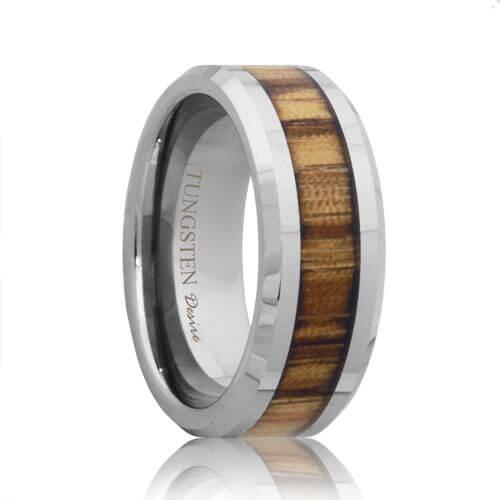 Calgary Tungsten Inlay Zebra Wood Wedding Ring (6mm