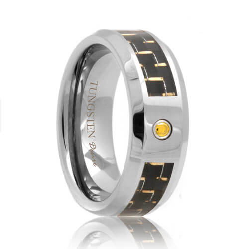 Tungsten Band with Yellow Cubic Zirconia and Carbon Fiber