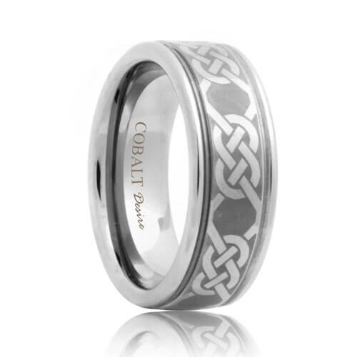 Laser Etched Celtic Rope Pattern Cobalt Wedding Band