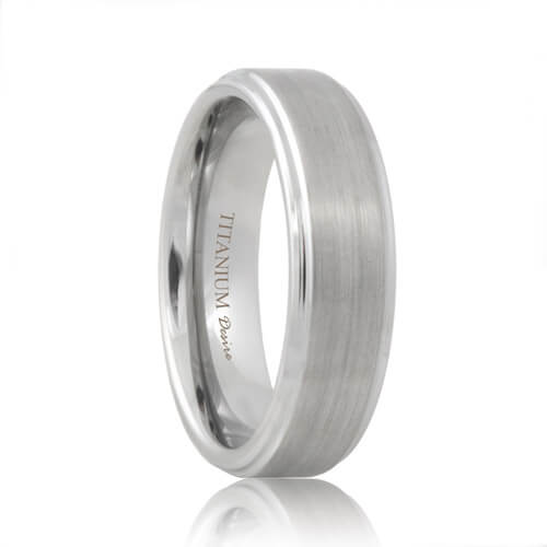 Diana Matte Step Edge Designer Titanium Wedding Ring