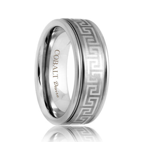 Engraved Greek Key Pattern Cobalt Band (6mm - 8mm)