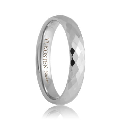 Diamond Faceted Comfort Fit 4mm Tungsten Ring