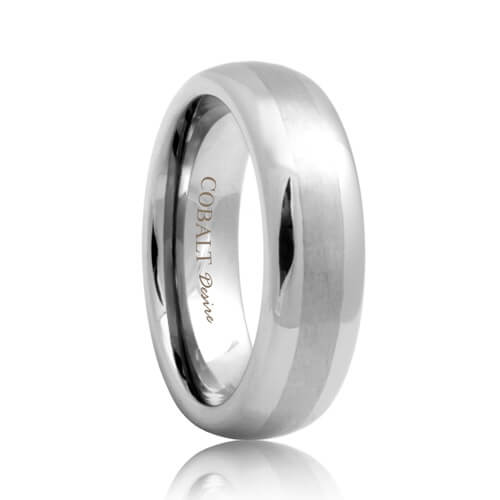 Round Satin Stripe Cobalt Engagement Wedding Band