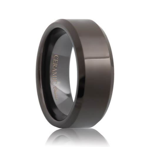Beveled Comfort Fit Black Ceramic Wedding Band