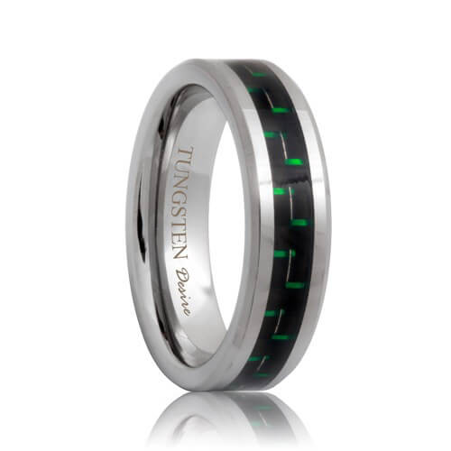 6mm tungsten wedding band with green black carbon fiber inlaid - Green Wedding Rings