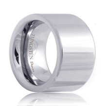14mm Extra Wide Flat Polished Tungsten Ring