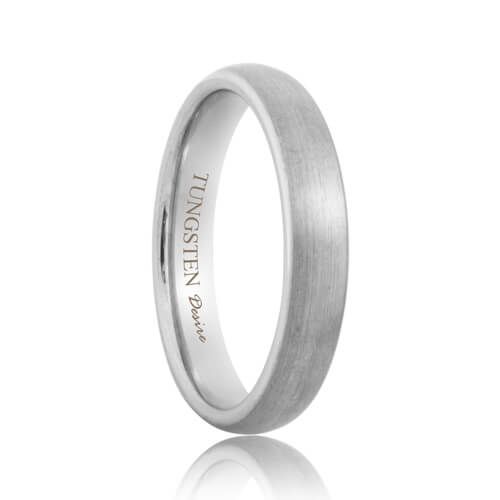 4mm Round Brushed White Tungsten Band