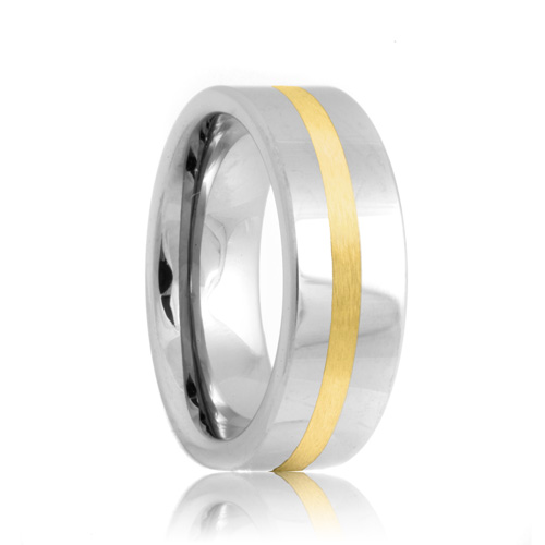 Flat Cobalt Chrome Ring with Gold Inlay (6mm - 8mm)