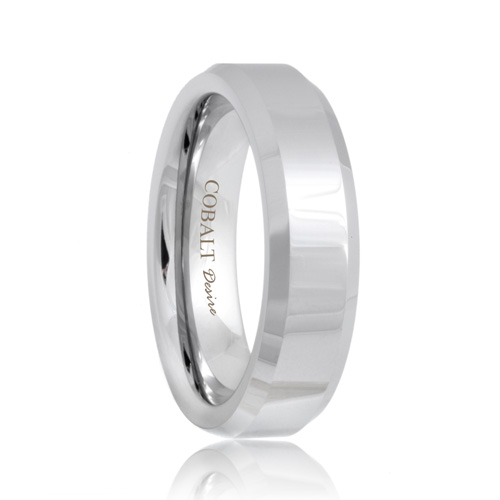 Beveled Durable Cobalt Chrome Wedding Promise Ring
