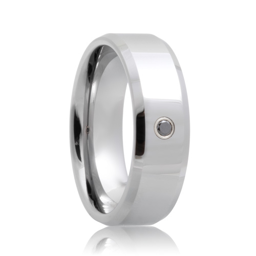 Black Diamond Solitaire Beveled Cobalt Chrome Band