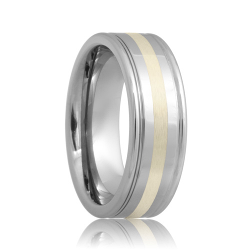 Grooved Sterling Silver Inlay Cobalt Chrome Ring