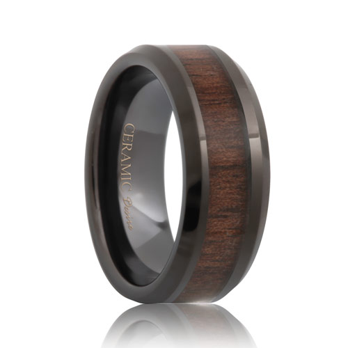 Ceramic Black Walnut Wood Inlay Ring (6mm - 8mm)