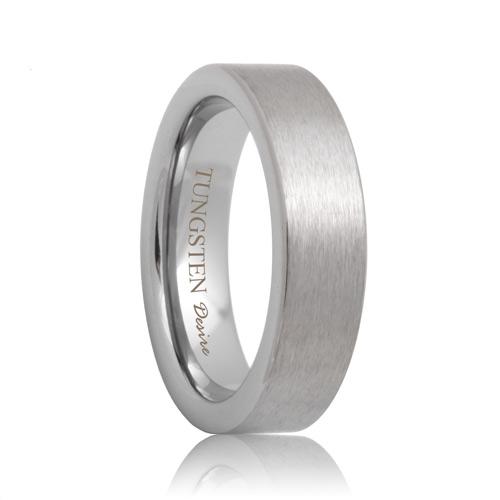 6mm jackson flat brushed white tungsten ring