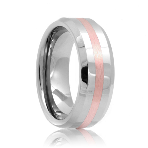 View Larger Image Undefined Jason Beveled Rose Gold Inlay Cobalt Chrome Wedding Band