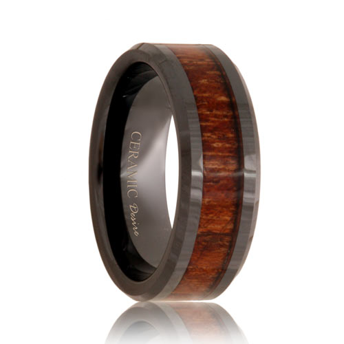 Black Ceramic Koa Wood Grain Inlay Ring (6mm - 8mm)