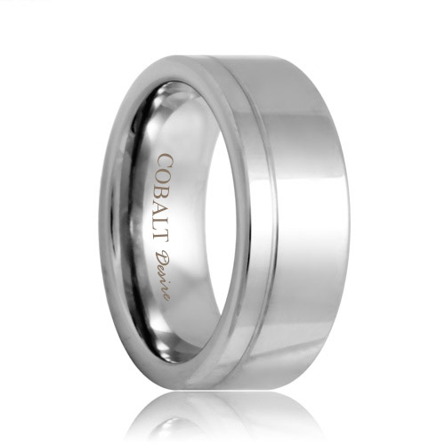 Flat Offset Groove Polished Cobalt Band (6mm - 8mm)