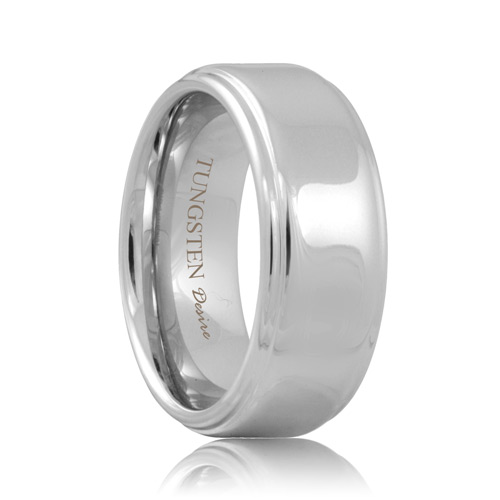 White Tungsten Step Edge Polished Band (6mm - 8mm)