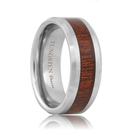 Lincoln - Tungsten Inlaid Rose Wood Wedding Band