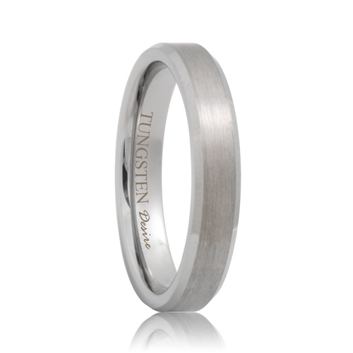 Brushed Beveled Scratch Resistant Tungsten Wedding Band