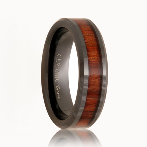 Polished Black Ceramic Koa Wood Grain Ring