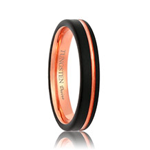 Satin Finish Rose Gold Black Tungsten Ring with Offset Stripe