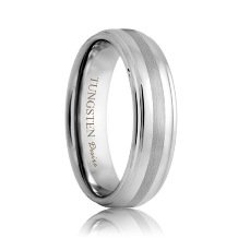 Raised Tungsten Band with Brushed Stripe