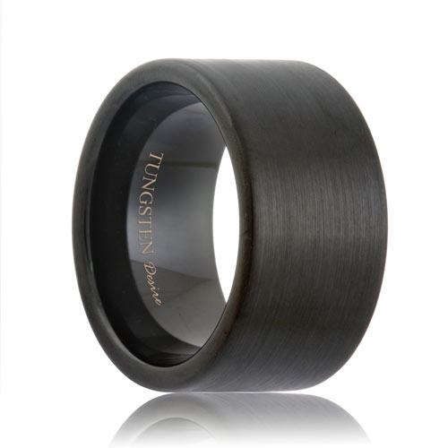 Pipe Cut 12mm Extra Wide Satin Black Tungsten Band