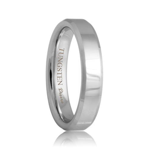 Beveled 4mm White Tungsten Ring